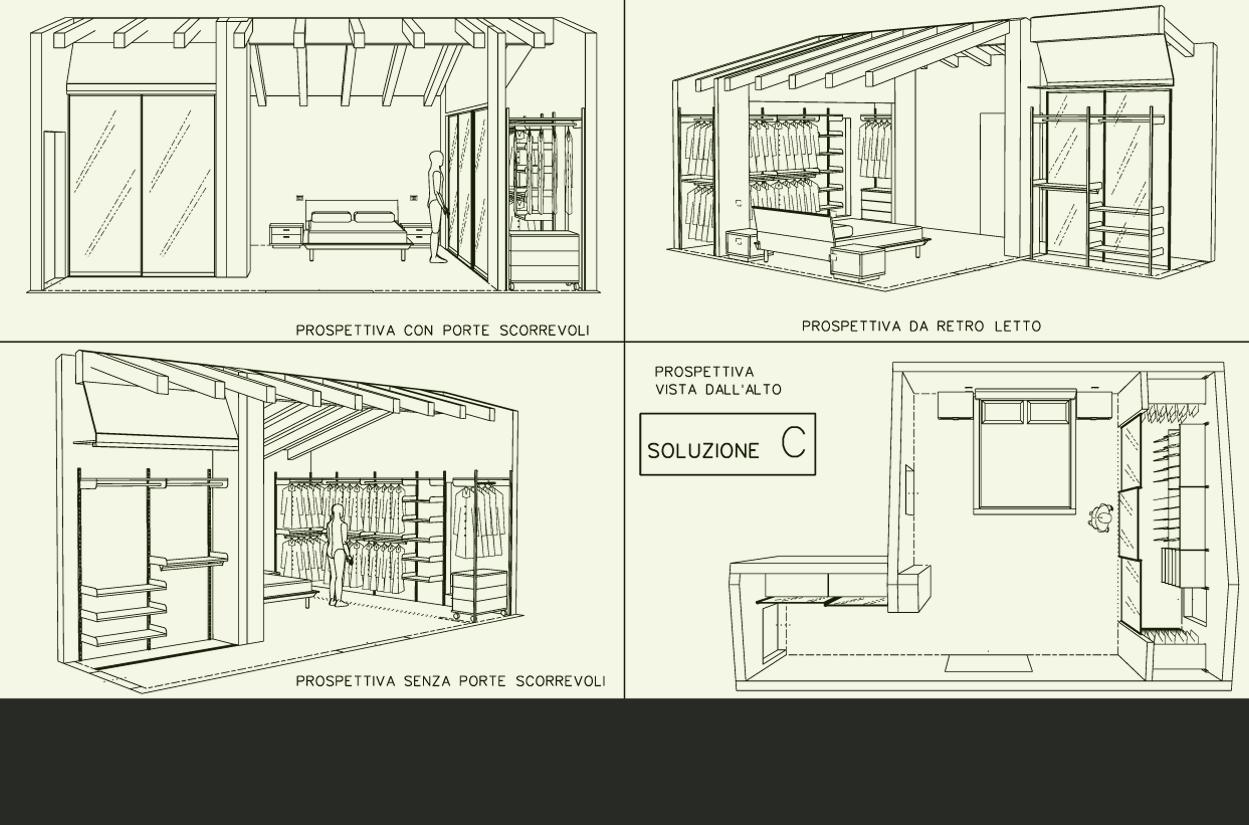 ... alternative per arredare una camera con cabina armadio: progetto 3
